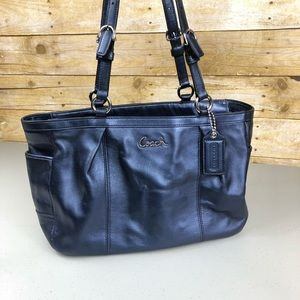 Coach F17721 Metallic Blue East West Leather Tote